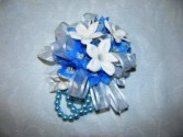 Blue Delphinium and Stephanotis Wrist Corsage  Abloom Original