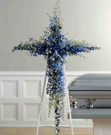 Blue Delphinium Cross Cross Funeral