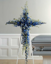 BLUE DELPHINIUM CROSS STANDING SPRAY ON 6' STAND