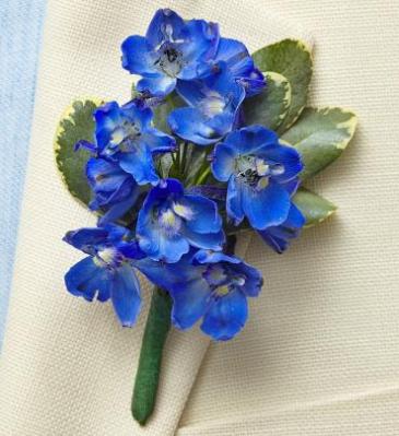 Blue Delpinium Boutonniere