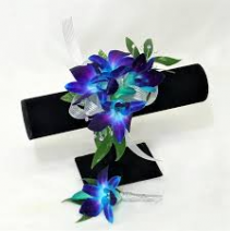 BLUE DENDRO SET,W/RHINESTONES CORSAGE AND BOUT
