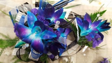 Blue Dendrobium Orchid Crystal Wrist Corsage