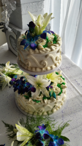 Blue Dendrobium orchids & white lilies Cake Flowers