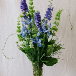 Blue Dreams Delphinium, Iris and More  in Celestial Blue and White