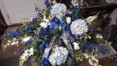 Blue for you casket spray