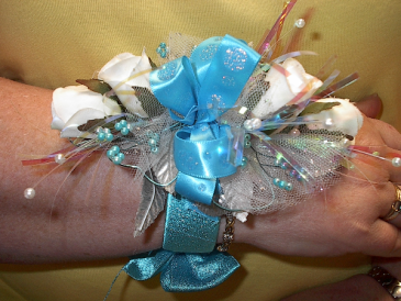 Blue for you wrist corsage