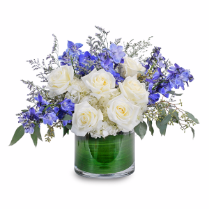 Blue Frost Centerpiece in Burnt Hills, NY | THE COUNTRY FLORIST