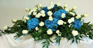 Blue Heaven Casket Spray  in Culpeper, VA | ENDLESS CREATIONS FLOWERS AND GIFTS