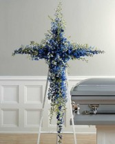 Blue Heaven Standing Spray Funeral Flowers Upright Spray