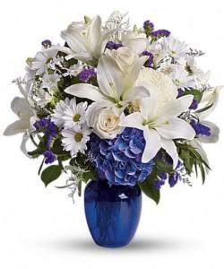 Blue Horizons  Vase Arrangement  in Oakville, ON | ANN'S FLOWER BOUTIQUE-Wedding & Event Florist