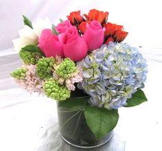 Blue Hydrangea Color Pop Vase Arrangement