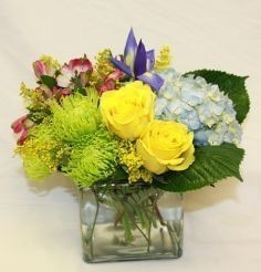 Blue Hydrangea Square Glass Cube Arrangement
