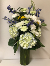 Blue Hydrangea & Delphinium New Baby Arrangement