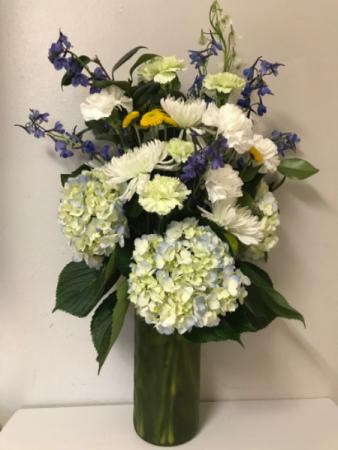 Blue Hydrangea & Delphinium New Baby Arrangement