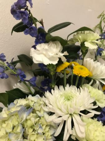 Blue  Hydrangea Sympathy Arrangement