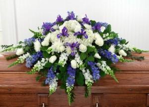 Blue Iris Casket Spray in Mechanicsburg, PA | Garden Bouquet