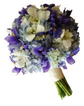 BLUE IRIS & HYDRANGEAS BRIDAL BOUQUET