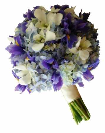 BLUE IRIS & HYDRANGEAS BRIDAL BOUQUET