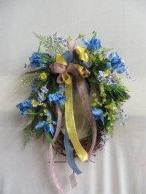 Blue Iris Silk Wreath 17 Silk Wreath