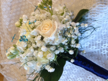 blue nights bouquet hand tied cluster for  dance/prom