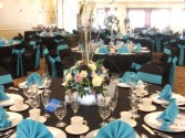 Blue Orchid Reception Area Wedding Flowers