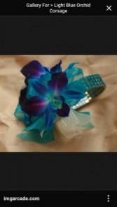 blue orchid wristlet corsage