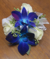 Blue Orchids & White Roses Corsage
