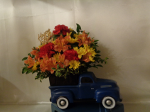 Dad's Blue Pickup Arrangement