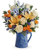 Blue Pitcher Arrangement Beautiful Spring Arrangement in a Keepsake Pitcher
