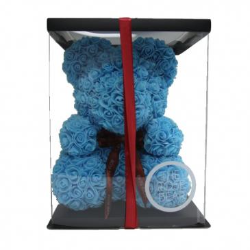 Blue Rose Teddy Bear 14 Inch