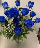 BLUE ROSES VASED VASED ARRANGEMENT