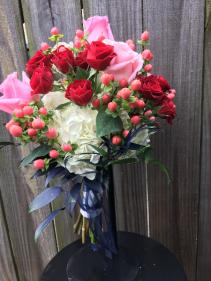 Blue Ruscus Romance Bouquet
