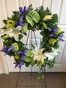Blue serenity Garden Wreath funeral in Waterbury, CT | GRAHAM'S FLORIST