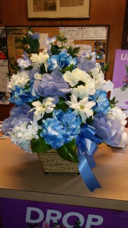 blue silks  silk arrangement