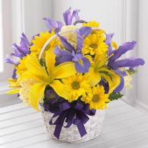 blue skies and sunshine basket yellow and blue flowers in basket
