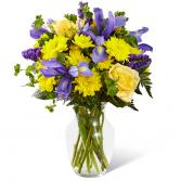 blue and yellow  vase arrangement