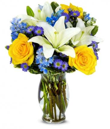 blue skies and sunshine vase arrangement