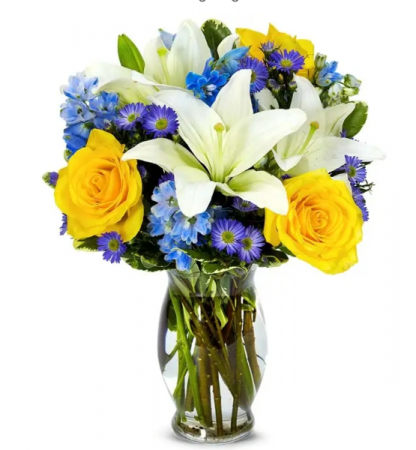 Blue skies vase of flowers
