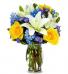 Blue skies vase of flowers