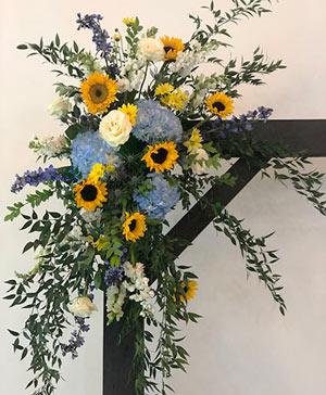 Blue Sky & Sunflowers Altar Arrangement in Ozone Park, NY | Heavenly Florist