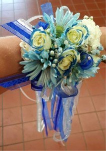 Blue Streamers  Corsage