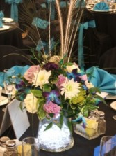 Blue Table Centerpiece Wedding Flowers