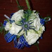 Blue thistle  corsage