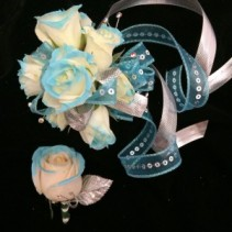 Blue tipped rose Wristlet and Bout Prom