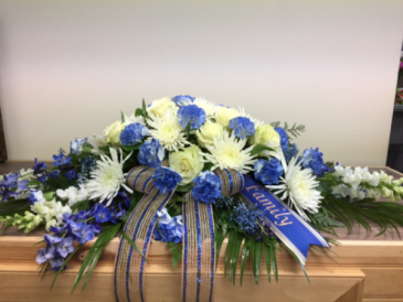 Blue tribute Casket spray