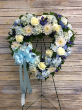 Blue Tribute Heart Standing Spray