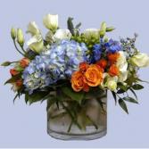 blue white and orange  centerpiece