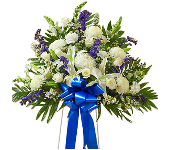 Blue & White Basket On Stand