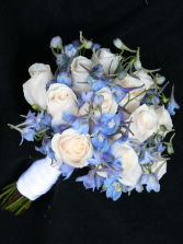 Blue & White Bridal Bouquet Wedding Flowers