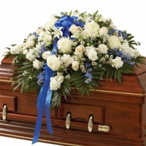Blue & White Casket Spray  in Bronx, NY | Bella's Flower Shop